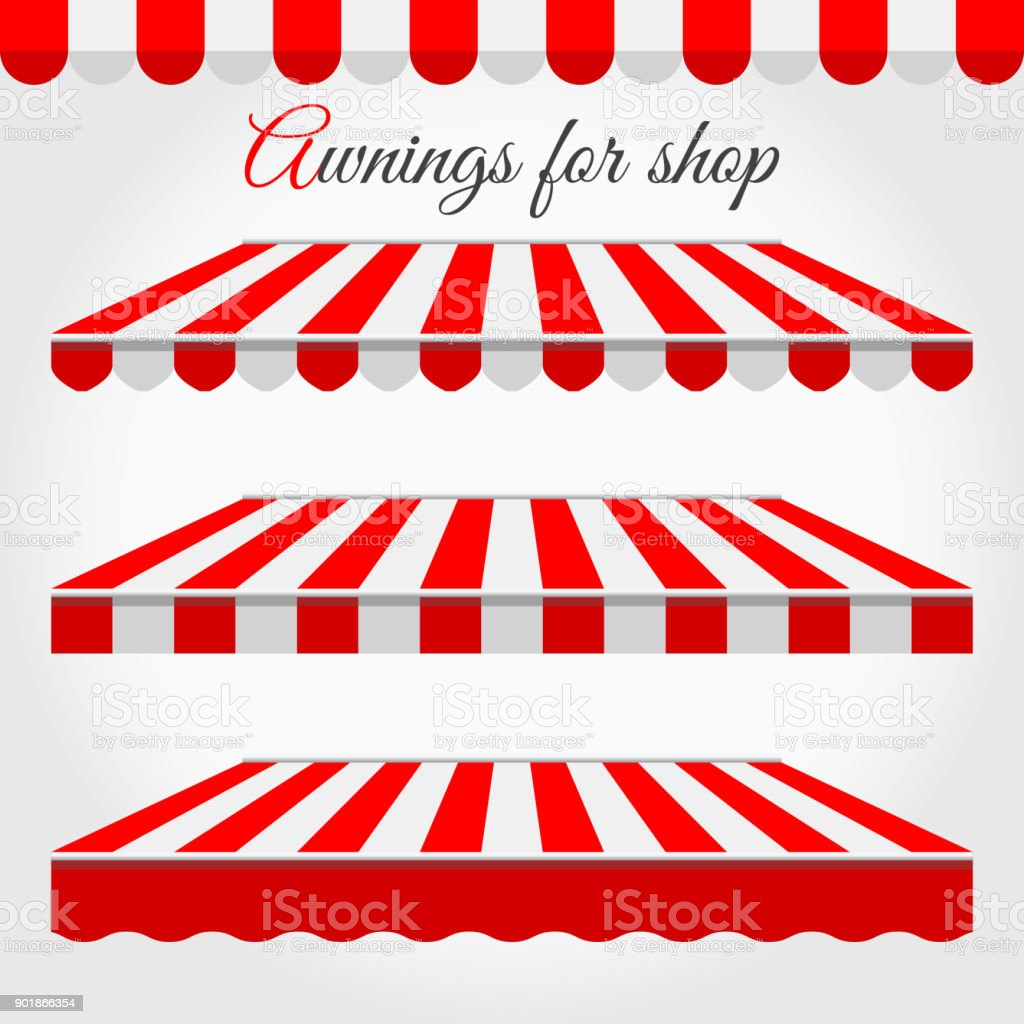 Striped Awnings for Shop in Different Forms. Red and White Awning with Sample Text vector art illustration