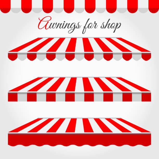 Striped Awnings for Shop in Different Forms. Red and White Awning with Sample Text Striped Awnings for Shop in Different Forms. Red and White Awning with Sample Text. awning stock illustrations