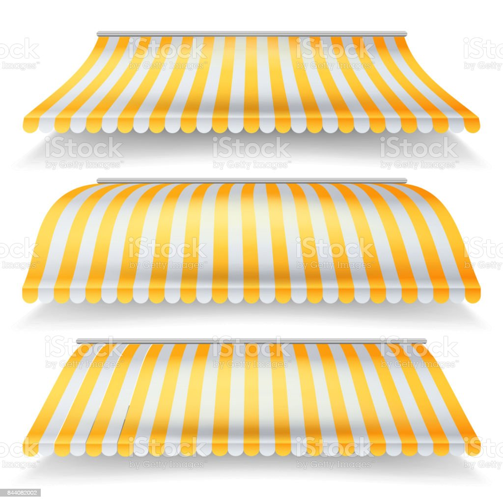 Striped Awnings Vector Set. Large Striped Awnings For Shop And Market Store. Design Element For Shops, Store Front. Isolated Illustration vector art illustration