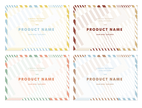 Striped background illustration set of simple and colorful / A