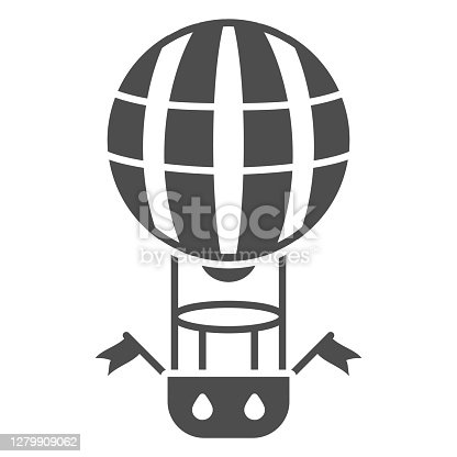 Striped balloon with basket solid icon, Balloons festival concept, Air transport for travel sign on white background, hot air balloon icon in glyph style for mobile, web. Vector graphics