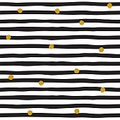 Striped black and white pattern with golden dots . Vintage vector illustration .