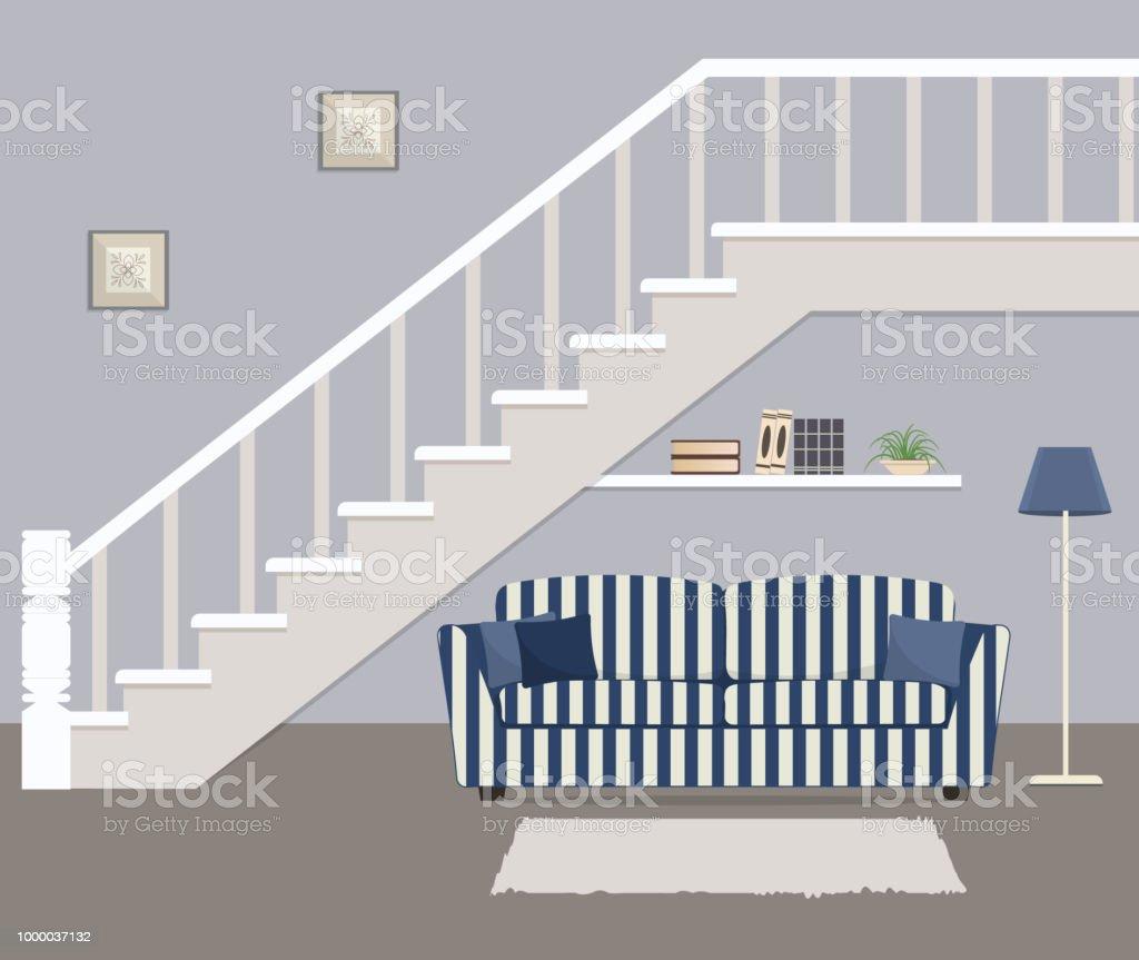 Gestreiften Blauen Sofa Mit Kissen, Befindet Sich Unter Der Treppe U2013  Vektorgrafik