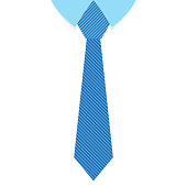 A striped blue tie in flat design. Vector illustration. Happy Fathers day background with cute tie. Father day greeting card