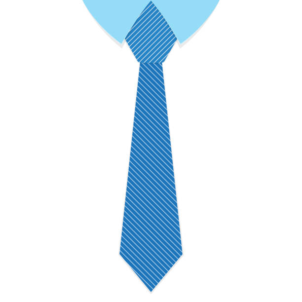 a striped blue tie. vector illustration. - tie stock illustrations, clip art, cartoons, & icons