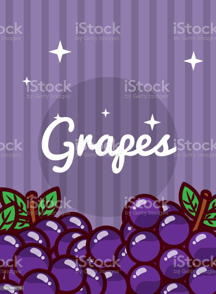 striped bright background fresh natural fruits grapes vector art illustration