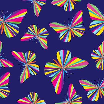 Striped Butterflies Seamless Pattern