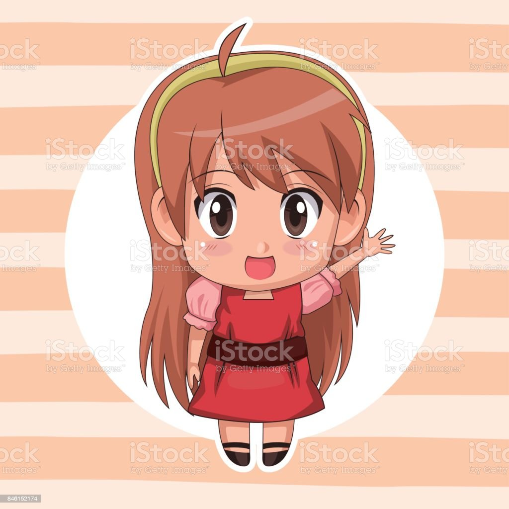 Striped Color Background With Circular Frame And Cute Anime Girl Expression Greeting Long Hairstyle Royalty