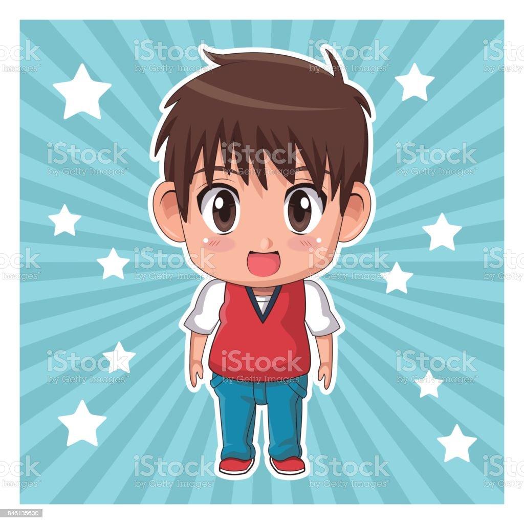 Yıldız Ve şirin Anime Teennager Ifade Sürpriz şeritli Renk Arka Plan