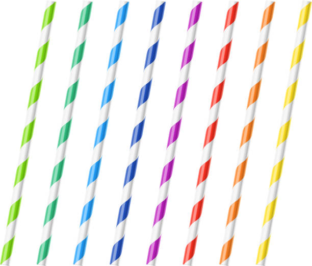 illustrazioni stock, clip art, cartoni animati e icone di tendenza di striped colorful drinking straws - cannuccia