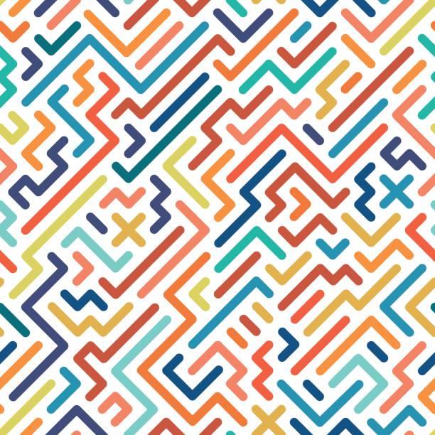 Striped colorful seamless geometric pattern. vector art illustration