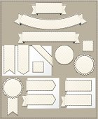 Striped Corner, Edge Ribbons, Labels, Banners, Stickers Set: Creamy Beige