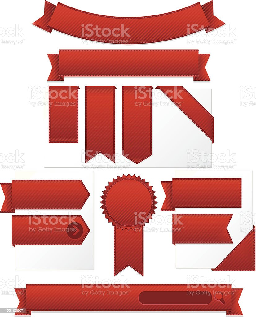 Striped Corner, Edge Ribbons, Labels, Banners, Stickers Set: Red Satin royalty-free striped corner edge ribbons labels banners stickers set red satin stock vector art & more images of angle
