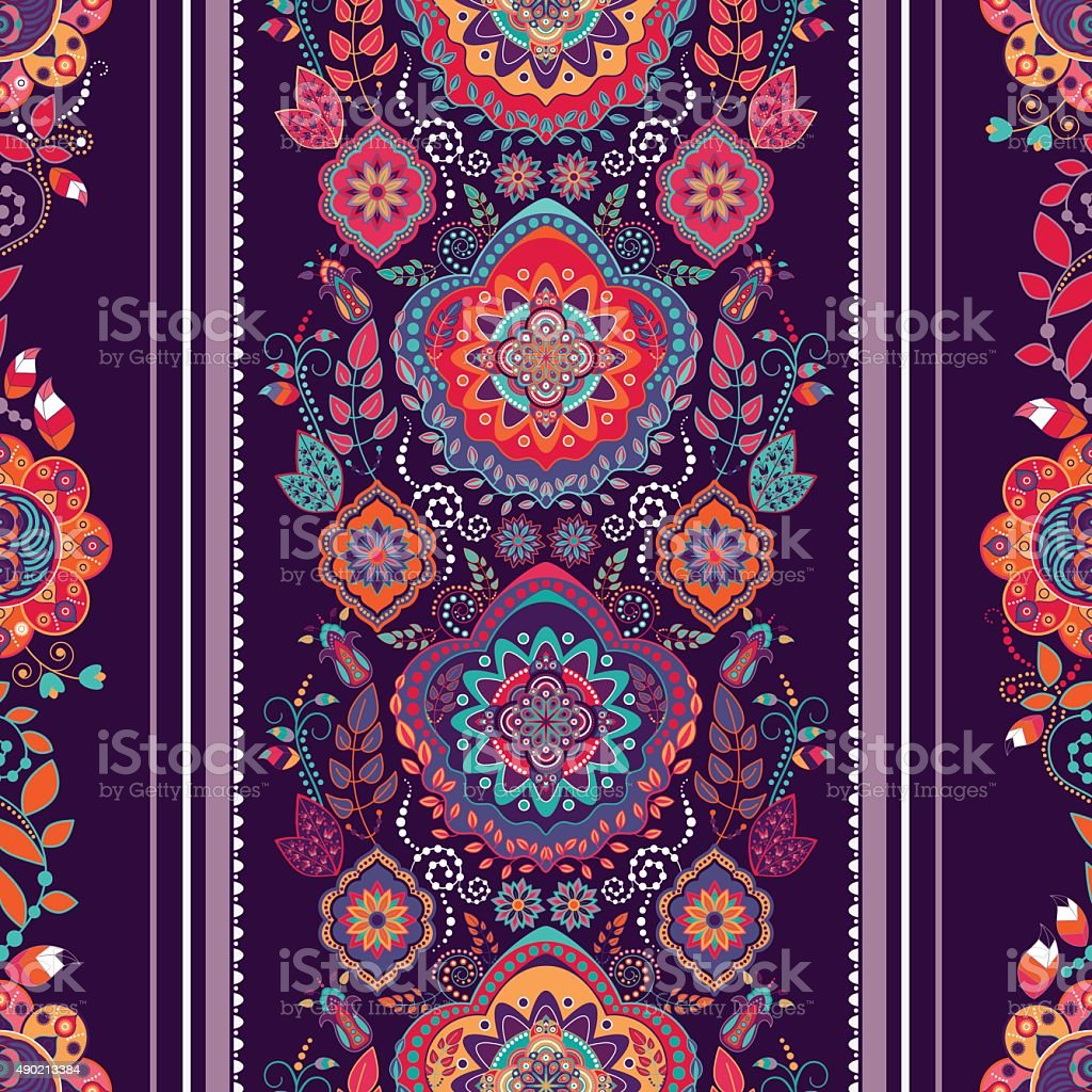 Striped floral pattern vector art illustration