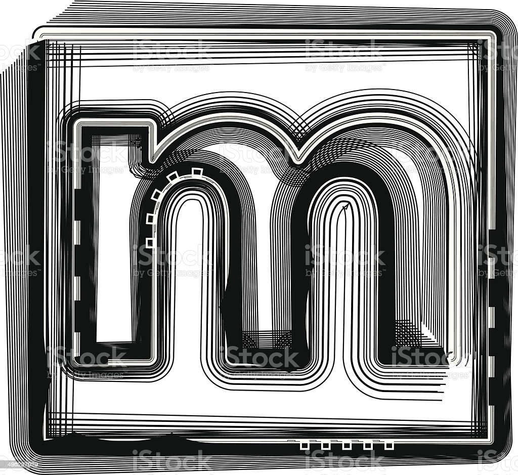 Striped font LETTER m royalty-free striped font letter m stock vector art & more images of abstract