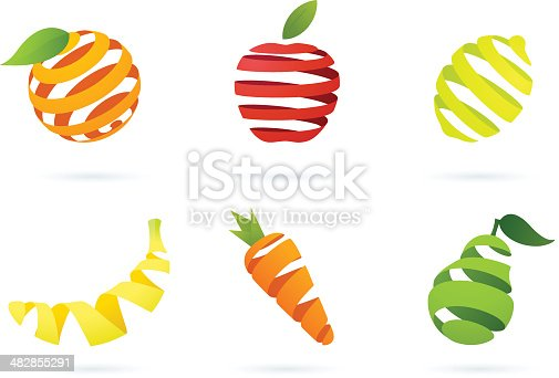 Collection of striped modern food design elements with shadows. (six modern striped elements).
