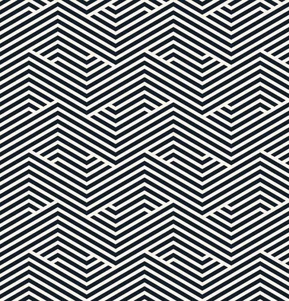 illustrazioni stock, clip art, cartoni animati e icone di tendenza di motivo geometrico a righe - zigzag