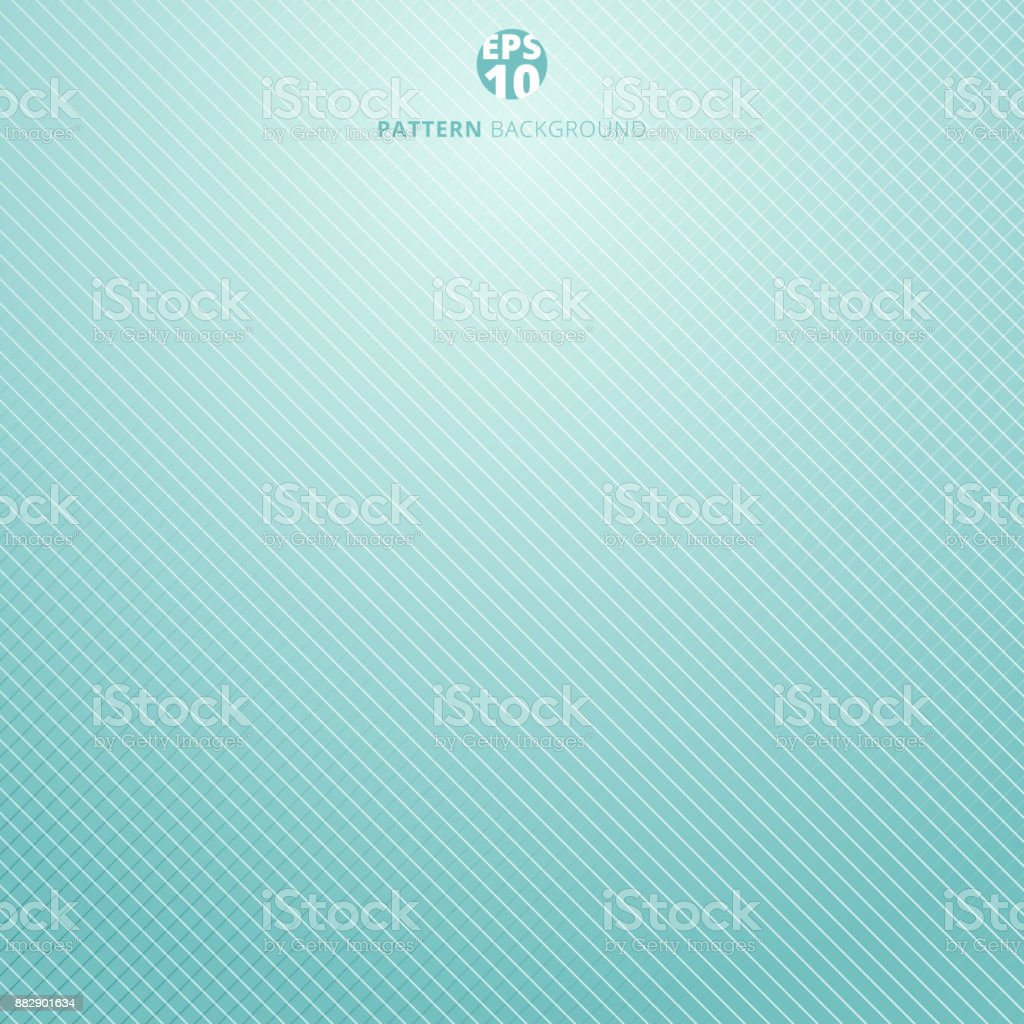 Striped lines grid pattern on blue mint and white colors. Abstract background texture. Cover