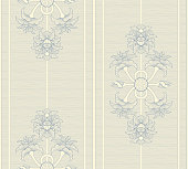 Seamless pattern with Indian lotus (flowers, buds and pods) ornament and stripes  in blue and off white. This floral ornament is suitable for fabric, textile, cards, wrapping, wallpaper and other decorative purposes.