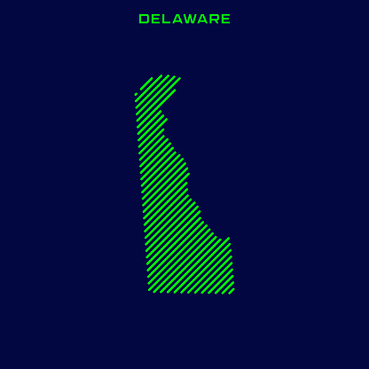 Striped Map of Delaware - States of USA Vector Illustration Design Template.