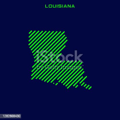istock Striped Map of Louisiana - States of USA Vector Illustration Design Template. 1282868430