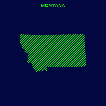 Striped Map of Montana - States of USA Vector Illustration Design Template.