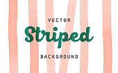 Striped orange paint brush watercolor vector background. Vertical stripes isolated on white background. Orange abstract hand drawn textured lines for food, bakery, eco design.