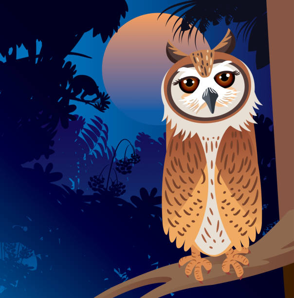 striped owl and forest - great horned owl stock illustrations, clip art, cartoons, & icons