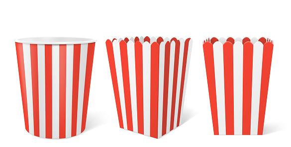Striped paper box for popcorn in cinema