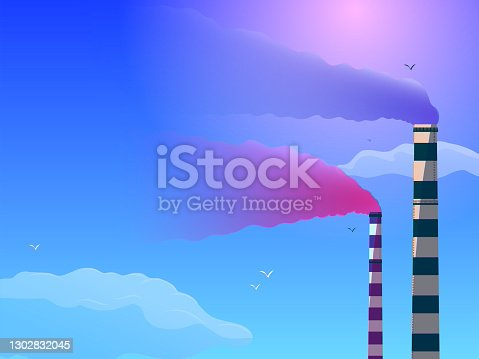 istock Striped pipes with smoke against the sky. 1302832045