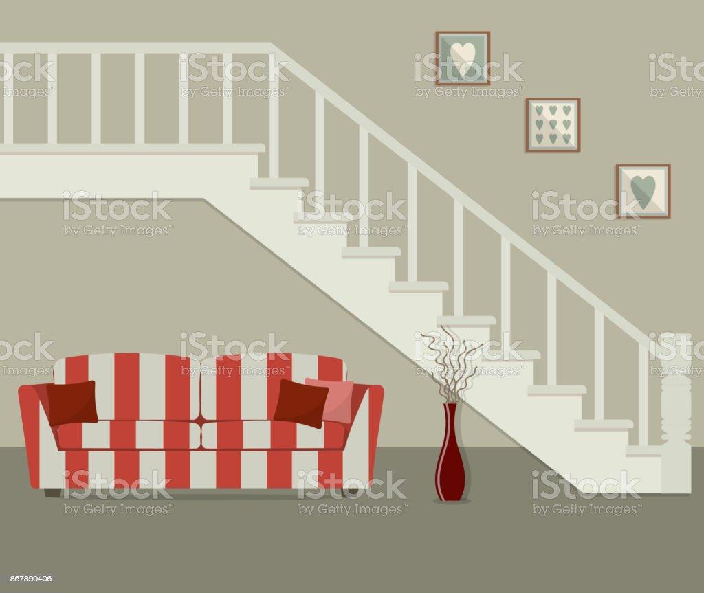 Gestreifte Rotes Sofa, Befindet Sich Unter Der Treppe U2013 Vektorgrafik