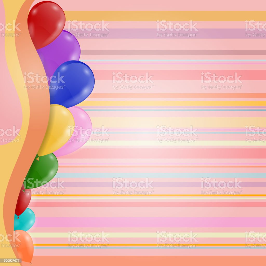 Striped Retro Background Birthday Invitation With Balloons Stock