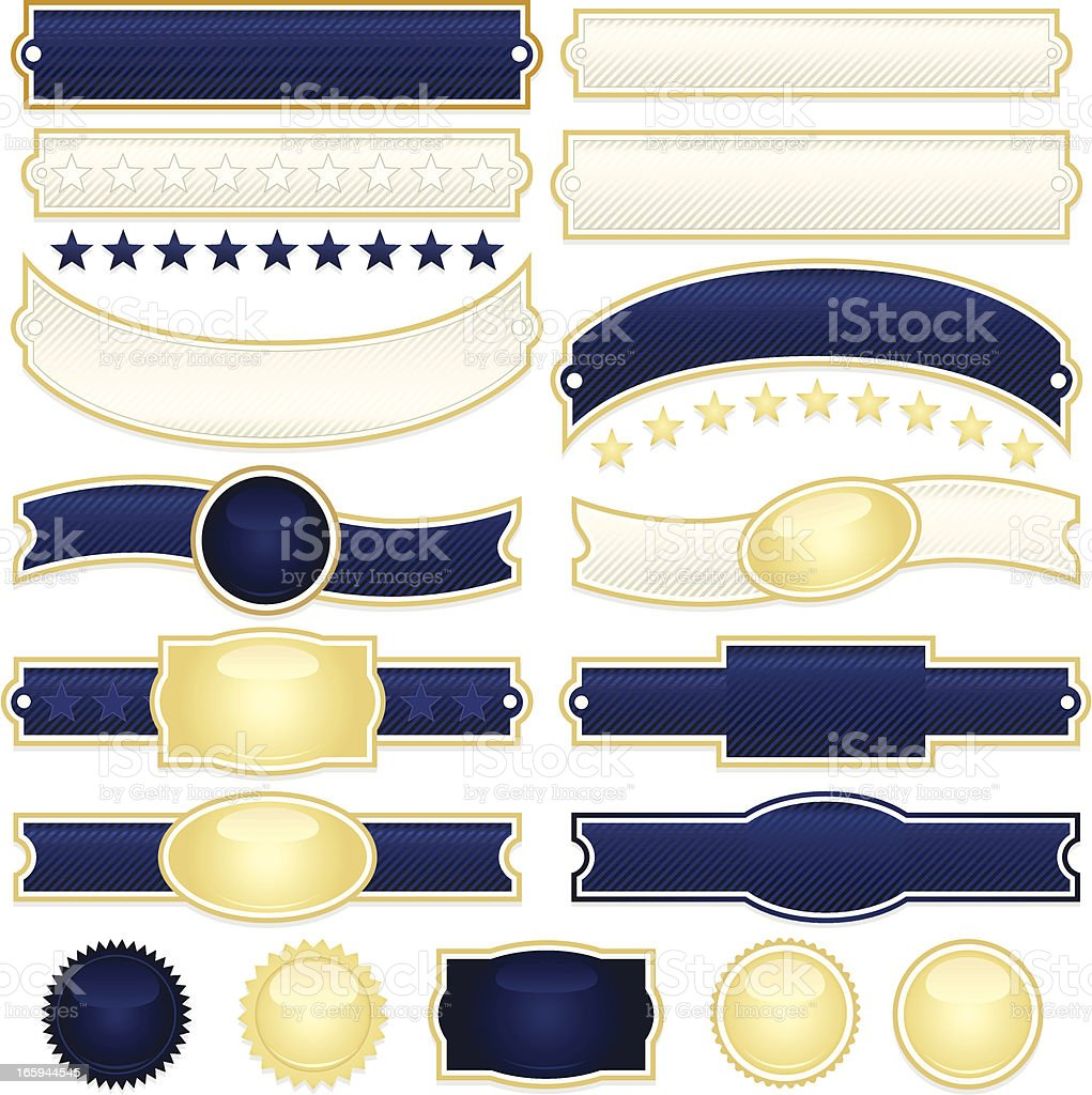 Striped Ribbons, Labels, Banners, Stickers, Buttons: Dark Blue, Cream, Gold royalty-free stock vector art