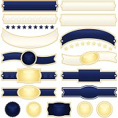 Dark blue striped ribbons, labels, stickers, buttons, banners. **Zoom in above to view OPTIONAL diagonal stripes, stars, drop shadows. Optional seamless striped patterns included in files.**