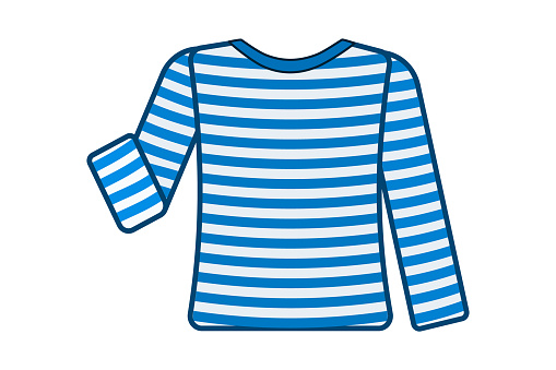 Striped sailor t-shirt isolated on white background.