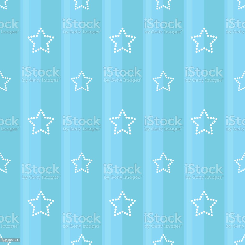 Striped Seamless Blue Pattern With Dotted Stars Childrens Bedroom