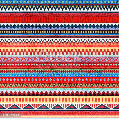 striped seamless pattern, ethnic and tribal motifs, grunge texture, blue, red, yellow and gray colors