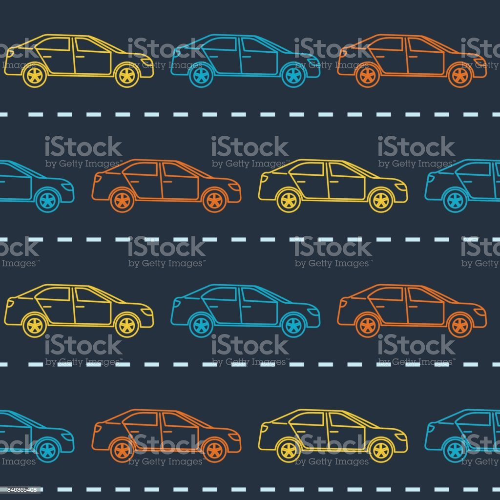 Striped seamless pattern with cars vector art illustration
