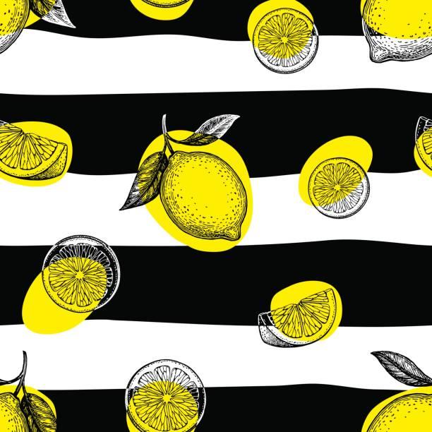 レモンとストライプのシームレスなパターン。 - ライム点のイラスト素材/クリップアート素材/マンガ素材/アイコン素材