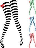 Vector Illustration of Human Legs in Striped Stockings. Illustrator 8, global colors, neat work, easily editable.