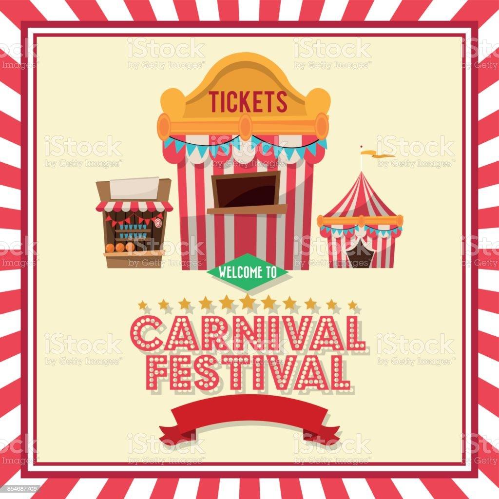 Tienda de rayas entradas de diseño de carnaval - ilustración de arte vectorial