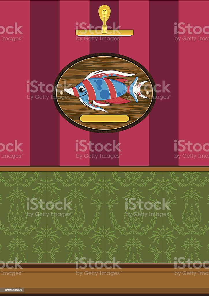 Striped Tropical Fish on Mount Scene royalty-free stock vector art
