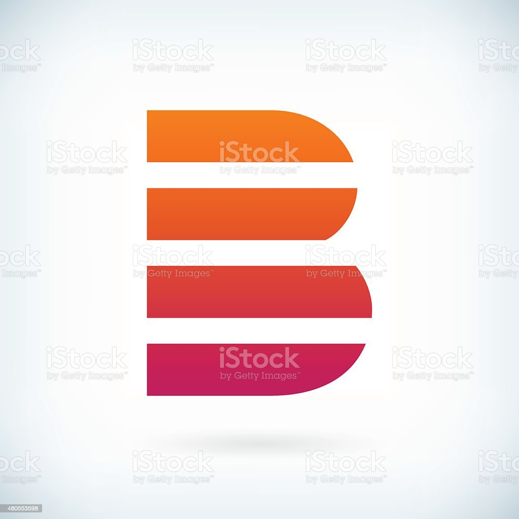 stripes letter B icon design element template vector art illustration
