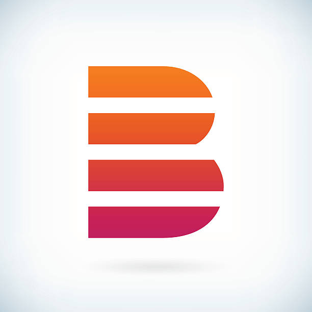 stripes letter B icon design element template vektör sanat illüstrasyonu