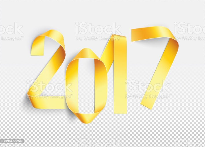 stripes of gold painted paper and bent at 2017 new year card in vector royalty
