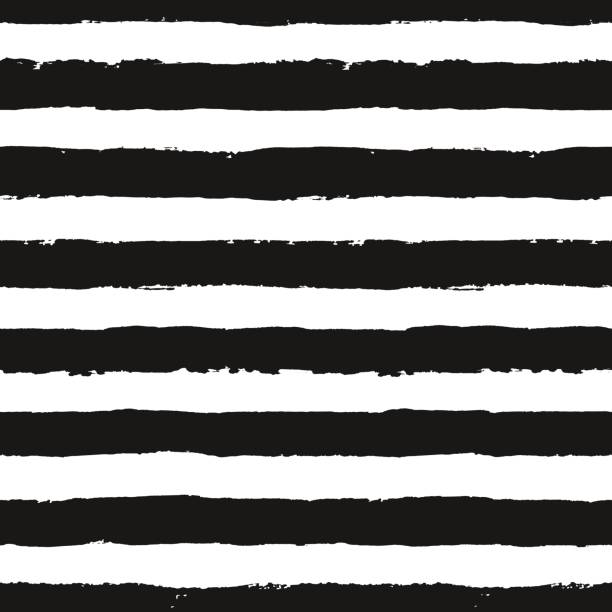 Stripes Pattern from Brush Strokes Stripes pattern. Seamless brush stroke rounds. Sketchy hand drawn graphic print. Grunge vector design. Black and white background. Grungy wallpaper, furniture fabric, fashionable textile. monochrome stock illustrations