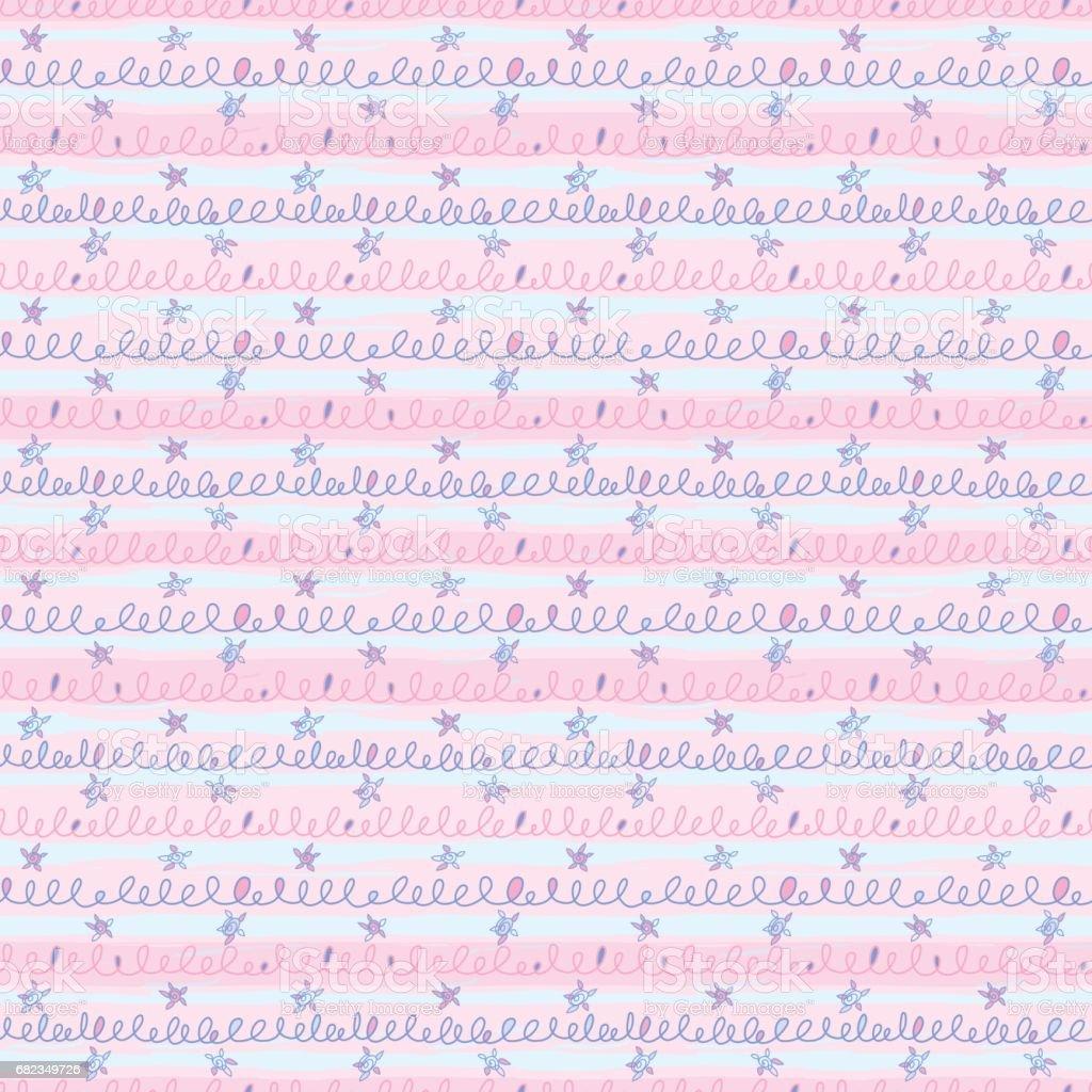 Stripes_Squiggle_Pattern_with_Dancing_Stars_Pink_Blue stripessquigglepatternwithdancingstarspinkblue - stockowe grafiki wektorowe i więcej obrazów bazgroły - rysunek royalty-free