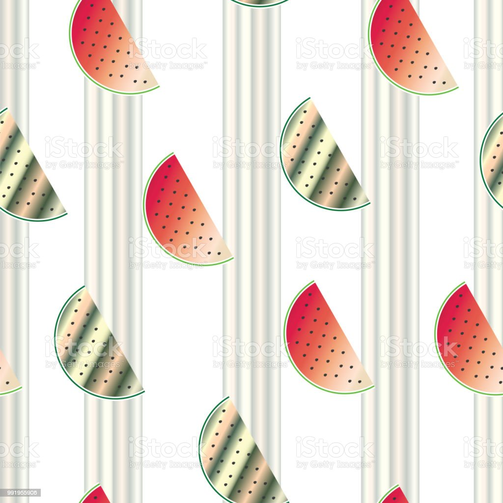 stripped seamless pattern with watermelon vector - summer texture illustration vector art illustration