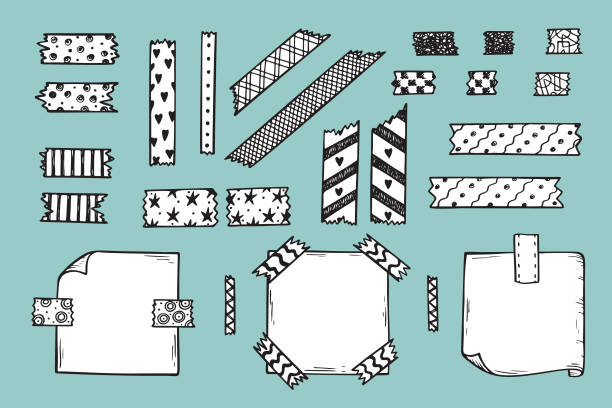 Strips of Masking Tape and Note Paper Set. Hand Drawn Doodle Sticky tape with Paper. Scotch patterned Adhesive tape collection. Vector illustration Strips of Masking Tape and Note Paper Set. Hand Drawn Doodle Sticky tape with Paper. Scotch patterned Adhesive tape collection. Vector illustration masking tape stock illustrations