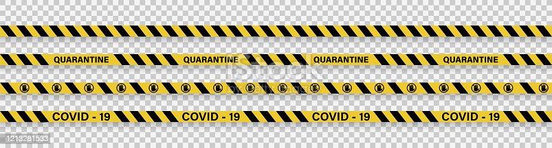 istock Strips of quarantine. Warning coronavirus quarantine yellow and black stripes. Isolated on transparent background. Vector 1213281533